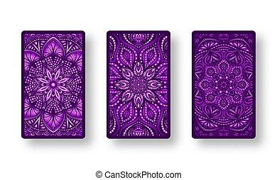 espalda, floral, púrpura, lado, tarjetas, colección,...