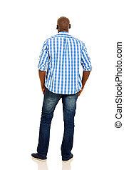 espalda, hombre, africano, vista