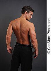 espalda, hombre, flexes, el suyo, sexy