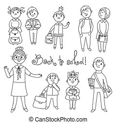 espalda, profesor, school., students.