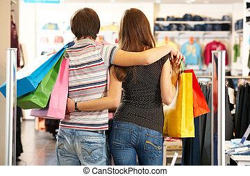 espaldas, de, compradores