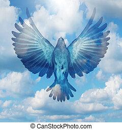 espalhar, seu, asas