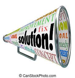 espalhar, solução, bullhorn, resposta, problema, megafone