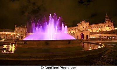 espana, plac, od, fontanna