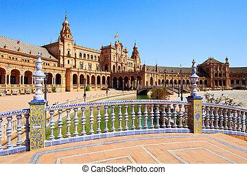 espana, spanje, seville, stadsplein, andalusia, europa, de