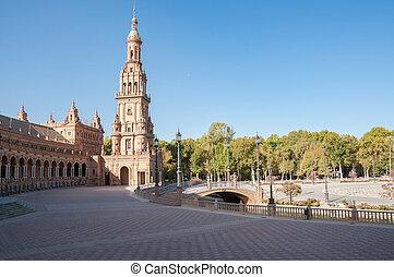 espana, turm, de, sevilla, piazza