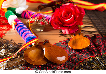 Espana typical from Spain with castanets flamenco elements