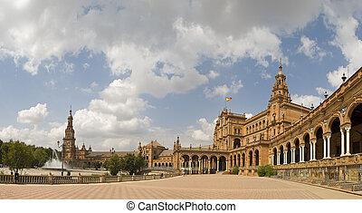 espana, wnętrze, plac, pano, sevilla