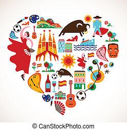 espanha, amor, -, coração, com, jogo, de, vetorial, ícones
