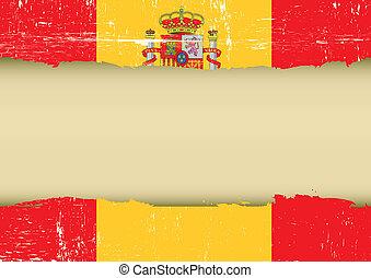 espanha, arranhado, bandeira