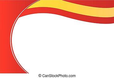 espanha, cartão postal, borda, bandeira