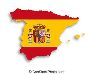 espanha, mapa, com, a, bandeira, dentro