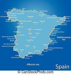 espanha, mapa, vetorial, ilustração