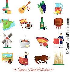 espanha, para, viajantes, cultural, símbolos, jogo