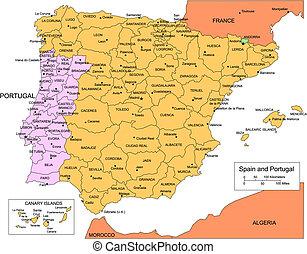 espanha, portugal, com, administrativo, distritos, e,...