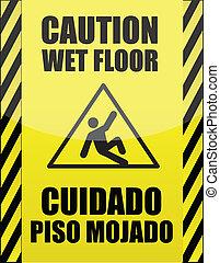 espanhol, chão molhado, sinal, inglês