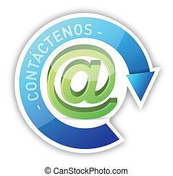 espanhol, contactar-nos, ilustração, desenho