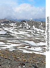 espanhol, refúgio esqui, em, primavera