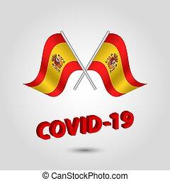espanhol, título, texto, covid-19, vetorial, vermelho, bandeiras, jogo, waving, -, dois, 3d, ícone, prata, cruzado, espanha, coronavirus, polaco