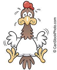 espantado, gallo, caricatura