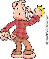 espantado, golpeteo, cerdo