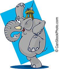 espantado, ratón, elefante