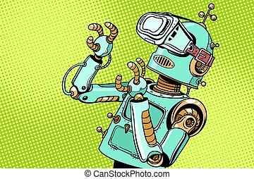 espantado, robot, retro, vr, anteojos
