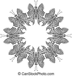 espantoso, mosca, borboletas