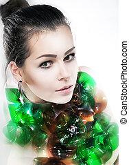 espantoso, mulher jovem, retrato arte, closeup., tiro estúdio
