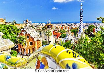 espantoso, parque, barcelona., deslumbrante, guel