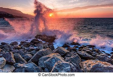 espantoso, poder, de, ondas, bata, contra, pedras, em,...
