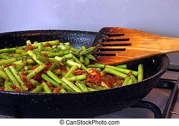 espargos, cozinhar