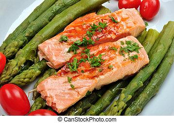espargos, prato, orgânica, salmão grelhado