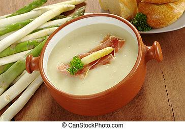 espargos, sopa, garnished, com, presunto, espargos, cabeça,...