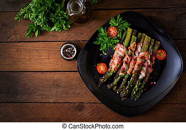 espargos, topo, grelhados, bacon., violeta, embrulhado,...