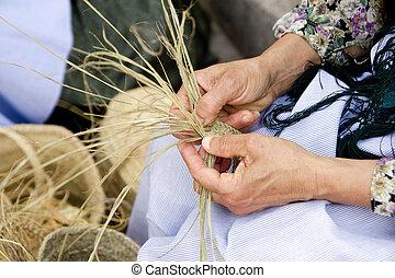 esparto, mujer, mediterráneo, handcrafts, manos
