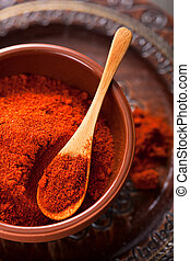 especia, suelo, tazón, rojo, paprika