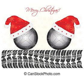 especiais, desenho, fundo, pneu, natal