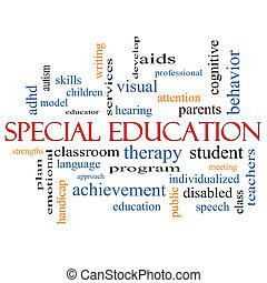 especiais, educação, palavra, nuvem, conceito
