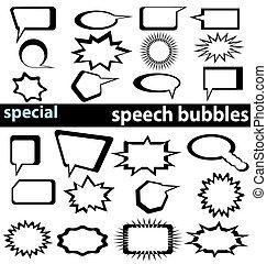 especiais, fala, bolhas, 1-2