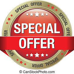especiais, oferta, vermelho, ouro, botão