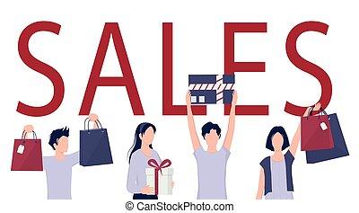 especial, comprador, oferta, venta, concept., bag., feliz, compras