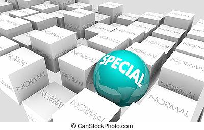 especial, contra, normal, diferente, mejor, único, 3d, ilustración