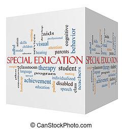 especial, educación, 3d, cubo, palabra, nube, concepto