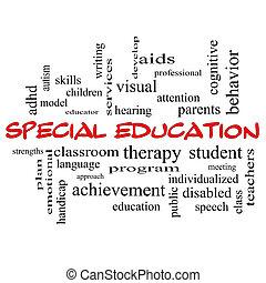 especial, educación, palabra, nube, concepto, en, rojo, tapas