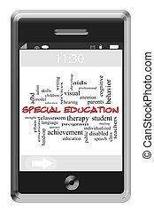 especial, educación, palabra, nube, concepto, en, touchscreen, teléfono