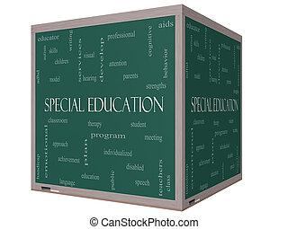especial, educación, palabra, nube, concepto, en, un, 3d, cubo, pizarra