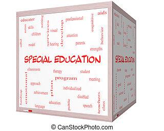 especial, educación, palabra, nube, concepto, en, un, 3d, cubo, whiteboard