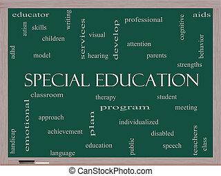 especial, educación, palabra, nube, concepto, en, un, pizarra