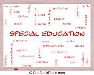 especial, educación, palabra, nube, concepto, en, un, whiteboard